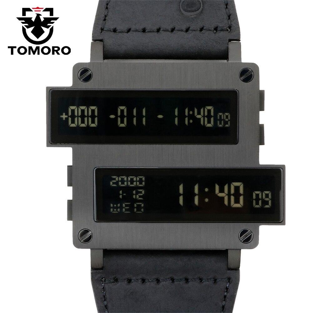 Lendemo ONE LIFE Series Top Man cible compte à rebours numérique heures horloge LED noir 316 T acier cuir de veau montre limitée Original