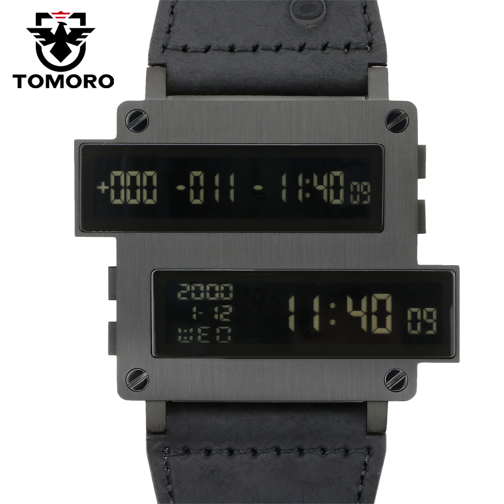 TOMORO ONE LIFE Series Top Man Target Countdown Digital Hours LED Clock Black 316T Steel Calfskin Leather Limited Watch Original