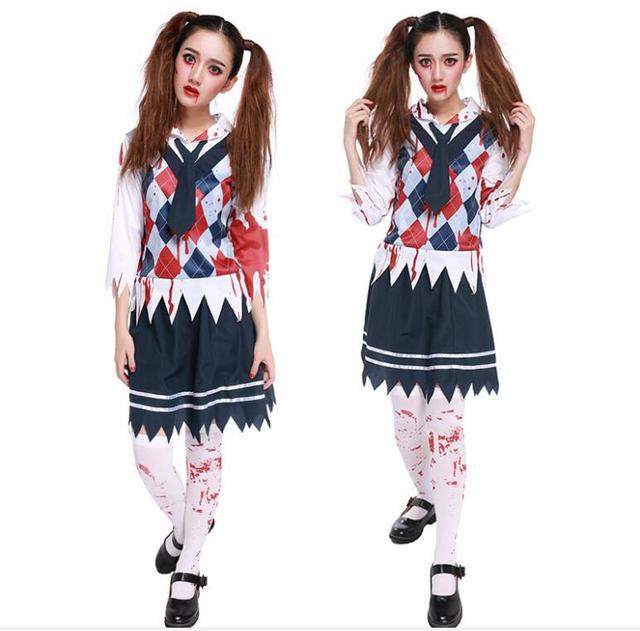 be219e022a Women Sexy Student Uniform Cosplay Schoolgirl Role Play Fancy Skirt  Carnival Zombie Halloween Underwear Nightwear Outfit Costume