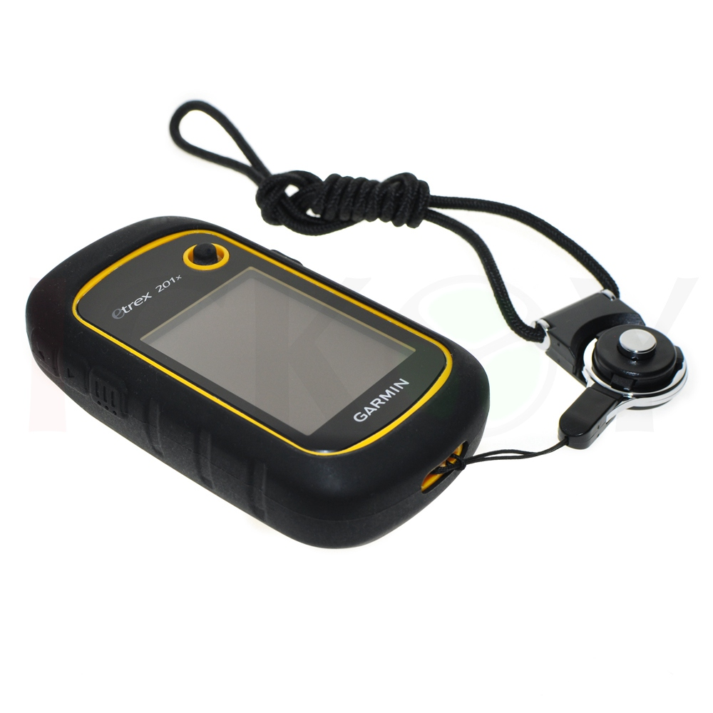 Outdoor Protect Silicon Rubber Case + Black Detachable Ring Neck Strap for Hiking Handheld GPS Garmin eTrex 10 20 30 10x 20x 30x