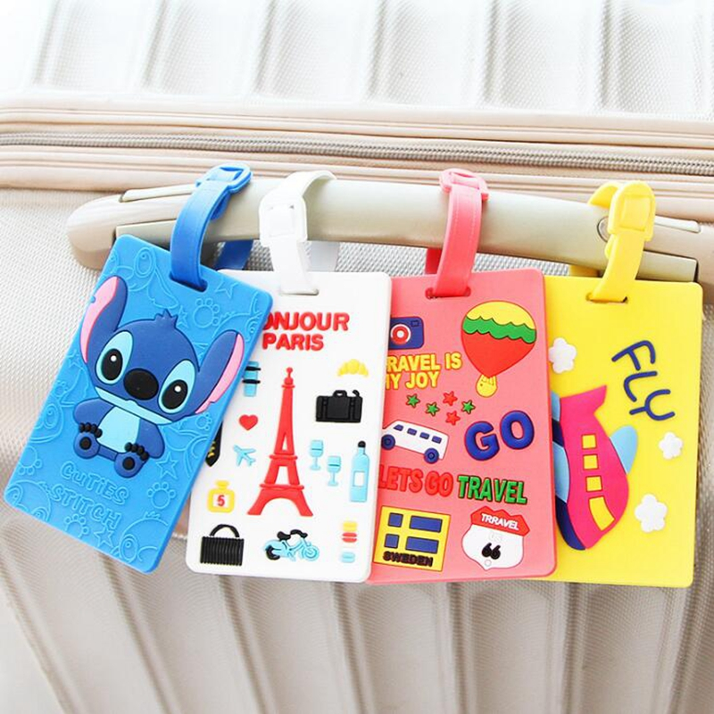 Kawaii Stitch Doraemon Luggage Luggage Tag ID Kartun Alamat Pemegang Label Baggage Silica Ge Identifier Travel Accessories