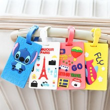 Kawaii Stitch Doraemon Suitcase Luggage Tag Cartoon ID Address Holder Baggage Label Silica Ge Identifier Travel Accessories(China)