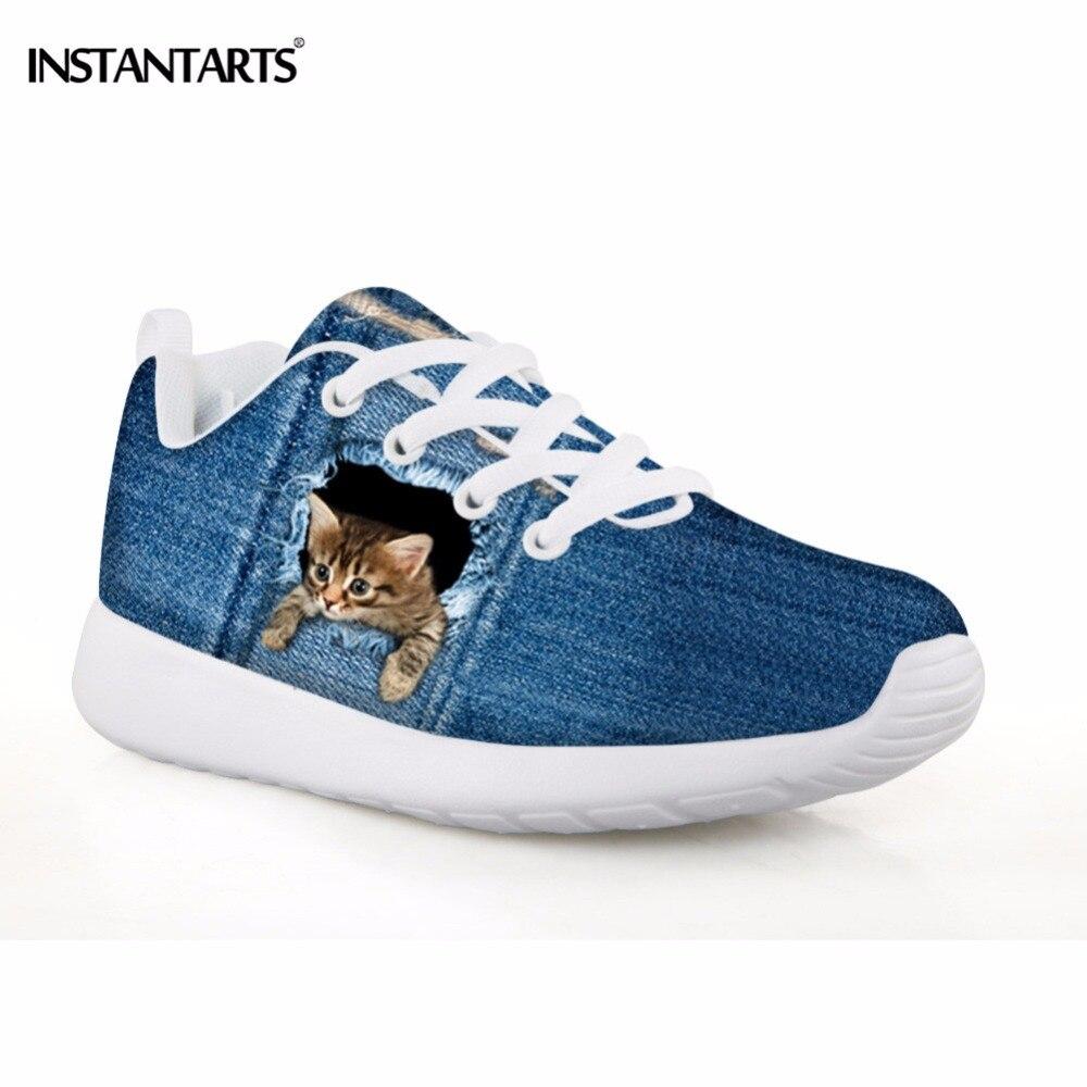 INSTANTARTS детская спортивная обувь Легкие Милые животные Щенок собака кошка печать кроссовки для отдыха на открытом воздухе бега девочек джин