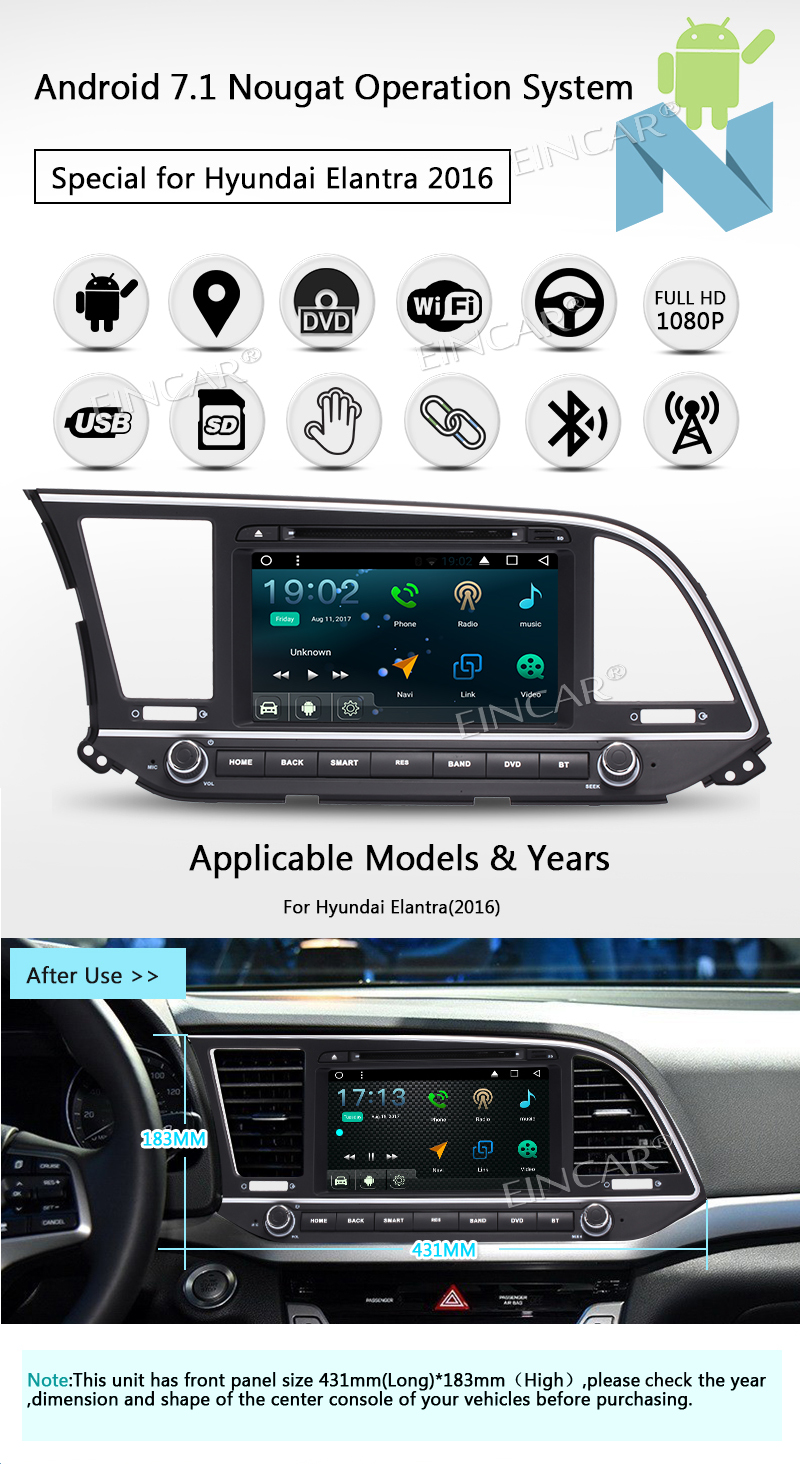 """EinCar 8"""" Android 7.1 Quad Core Touch Screen Car dvd Stereo with Bluetooth Double 2 Din GPS Navigation Headunit In Dash Radio A"""