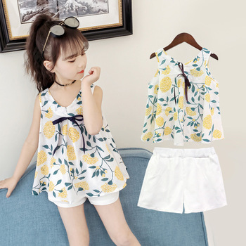 2pcs 2019 New Fashion Girl Clothing Set Summer Baby Girls Clothes Sleeveless Cute Top + White Shorts Wholesale Children Clothing