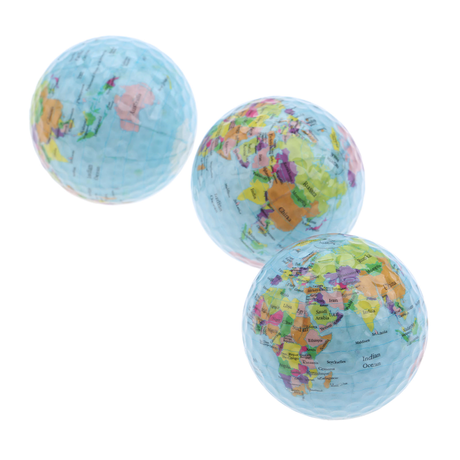 3pcs/lot Global Map Color Golf Balls Surlyn Golf Practice Balls 42.7mm Golf Gift Balls