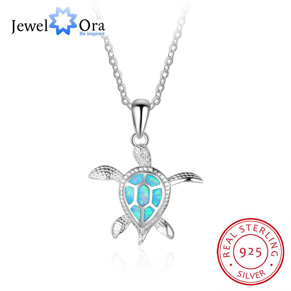 Turtles Accessorise Pendant Necklace Fashion Jewelry 925 Sterling Silver Opal Stone Necklace & Pendants Gift (JewelOra NE102001)