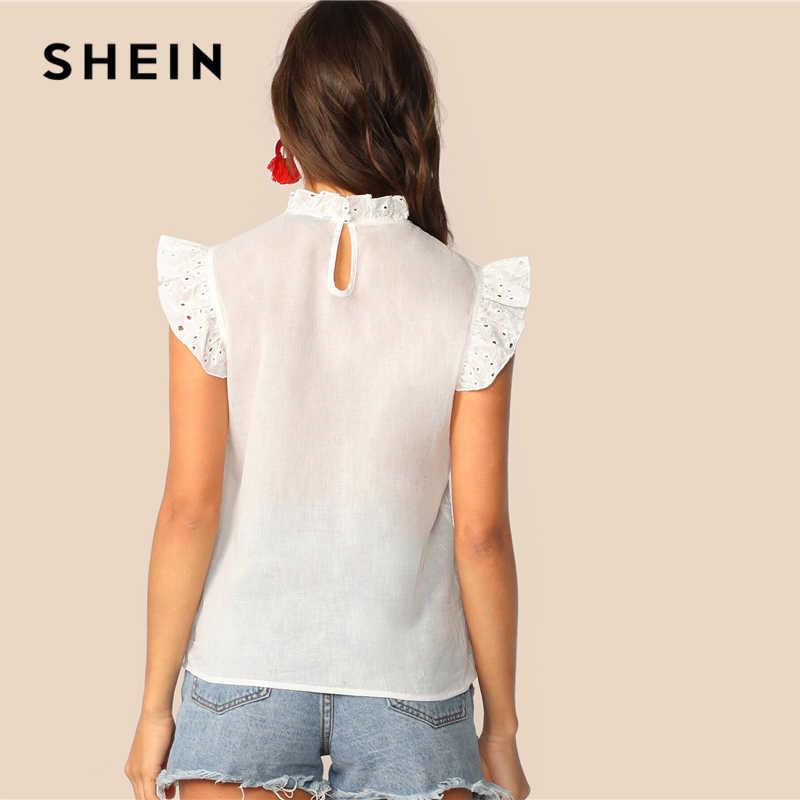 SHEIN モックネックフリルトリム刺繍アイレットトップ自由奔放に生きるホワイトピンク固体ノースリーブスタンドカラーブラウス女性トップスとブラウス
