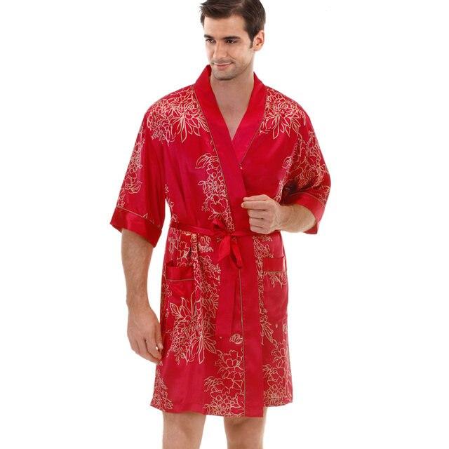 Online Shop Silk Bathrobe Men\'s Satin Robe Men\'s Silk Dressing Gown ...