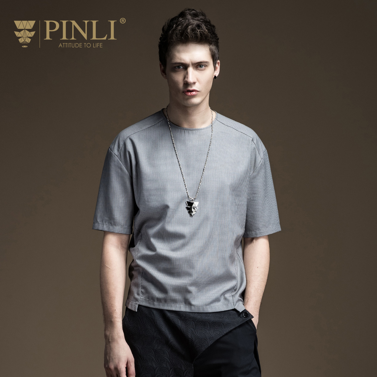 Pinli Real Fashion Solid O-neck Bamboo Fiber No 2017 Summer New Men's Slim - Irregular Short Sleeved T-shirt B172211099