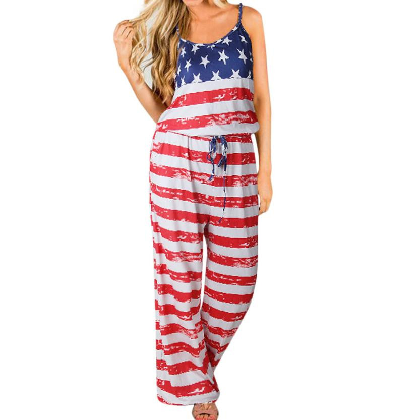 006f7eb6684f American flag printing jumpsuit women summer sleeveless long playsuits rompers  beach style ladies casual elegant overalls  yl5