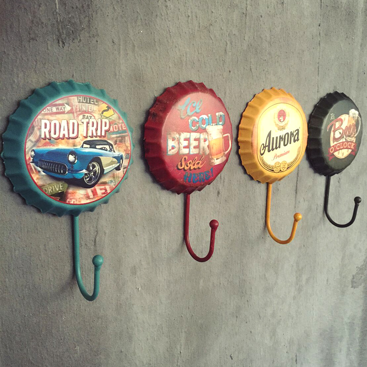 Vintage beer cover wall coat hook fitting room wall decoration iron personality  ball decor  home wall decor  beautiful decor vintage car