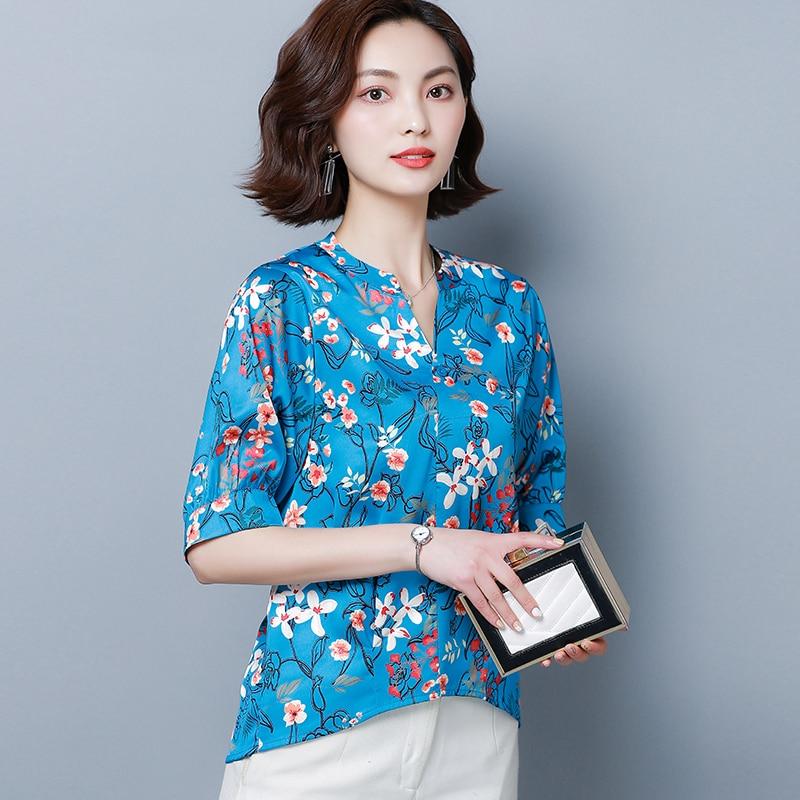 Korean Fashion Silk Women Blouses Satin Floral Short Sleeve Blue Women Shirts Plus Size XXXL/4XL Womens Tops and Blouses