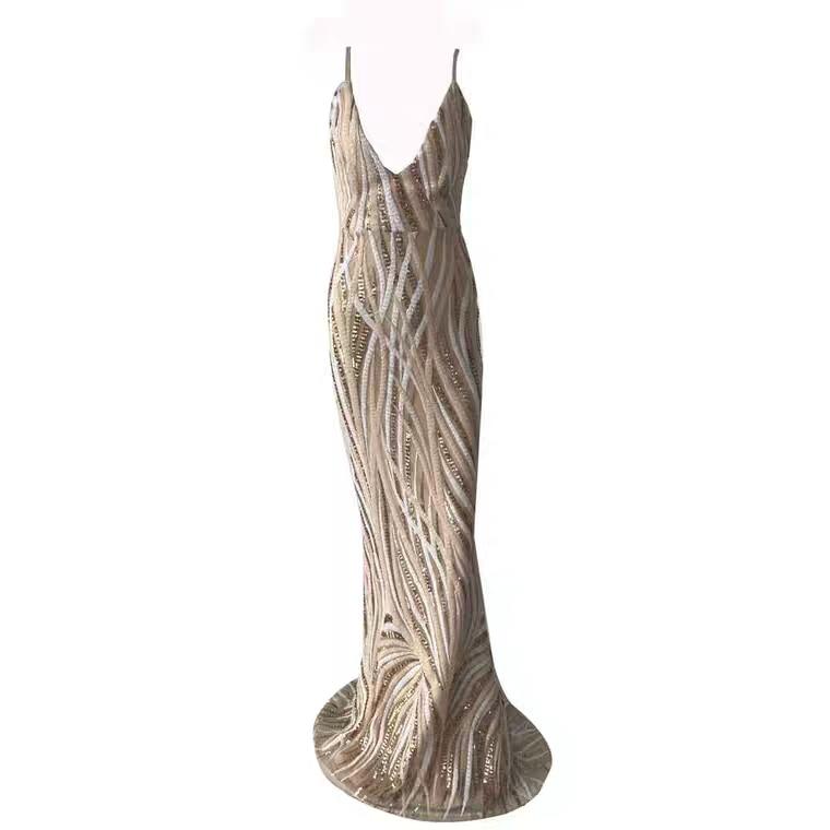 Сексуальный новейший дизайн кепки SleeveSequins украшения длина до пола Длинные Вечерние платья Русалка размер на заказ