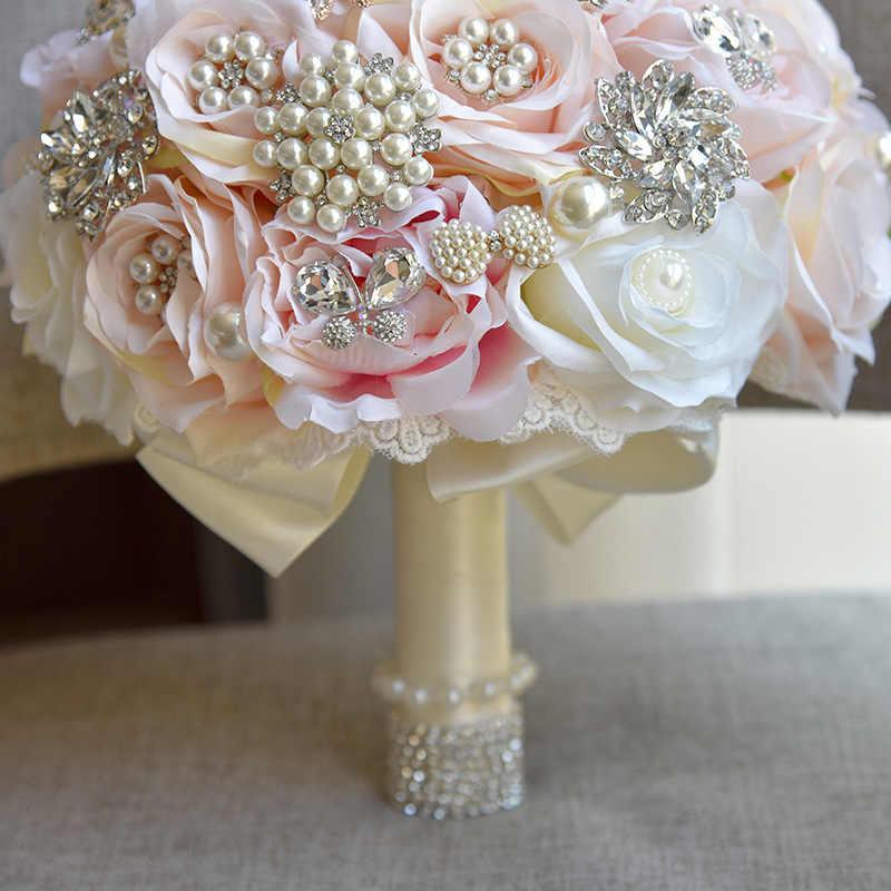 JaneVini Cristallo di Lusso Bouquet Da Sposa per la Cerimonia Nuziale del Rhinestone di Bling Fiori Di Seta Rosa di Cerimonia Nuziale Della Sposa Accessori Trouw Boeket