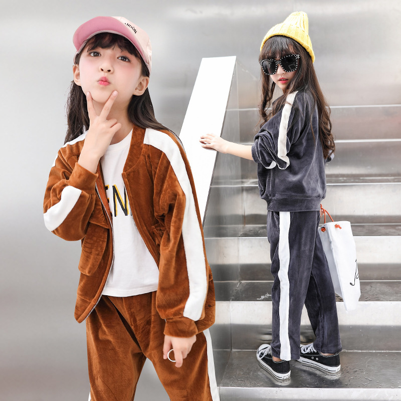 Autumn New Product Korean Children's Garment Girl Child Korea Down Motion Suit Two Pieces Kids Clothing Sets autumn new product girl cowboy pearl suit children s garment single row buckle short skirt suit 2 pieces kids clothing sets