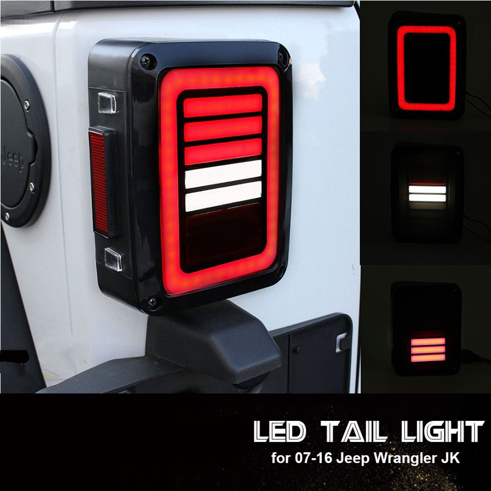 US $65 1 16% OFF|LED Tail Lights Smoke Lens For Jeep Wrangler 2007 2017 JK  JKU With Break Back Up Light Reverse Turn Parking Signal Lamp Assembly-in