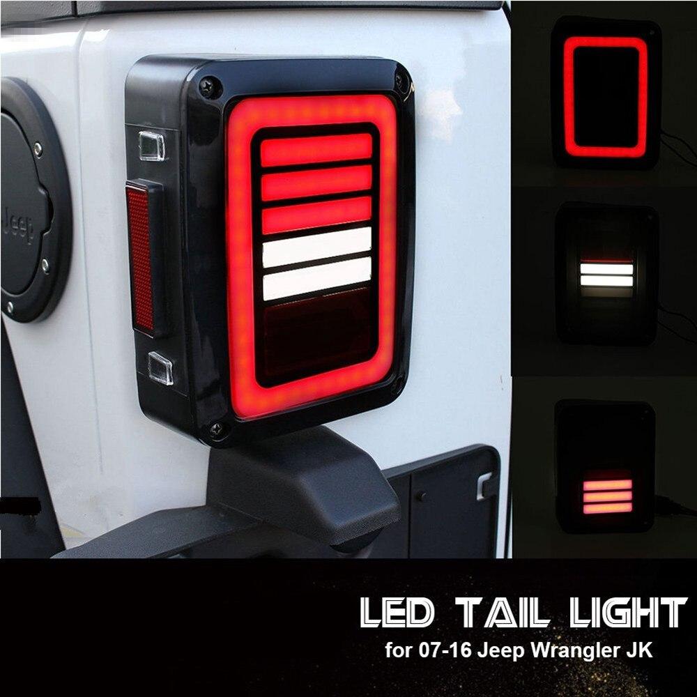 LED feux arrière lentille de fumée pour Jeep Wrangler 2007-2017 JK JKU avec lumière de secours de rupture tour arrière ensemble de lampe de signalisation de stationnement