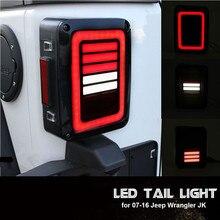 Luces traseras LED para Jeep Wrangler, lentes de humo para Jeep Wrangler 2007 2017 JK JKU con luz de rotura, conjunto de luces de estacionamiento de giro inverso