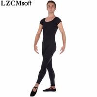 LZCMsoft Men's Spandex Lycra Cap Sleeves Unitard Adult One Piece Black Footless Unitards Dancewear Stage Performance Costumes