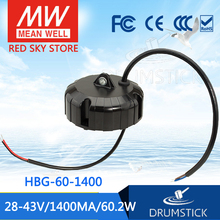 Hot! MEAN WELL original HBG-60-1400 43V 1400mA meanwell HBG-60 43V 60.2W Single Output LED Driver Power Supply mean well original hvg 320 48b 48v 6 7a meanwell hvg 320 48v 321 6w single output led driver power supply b type