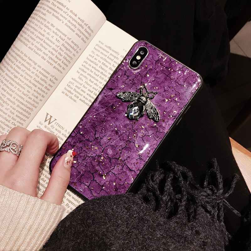 Luxury diamond metal Marble glitter bee silicone phone case for iphone 7 8 plus 6 s case for iPhone X XR XS MAX phone back case in Fitted Cases from Cellphones Telecommunications