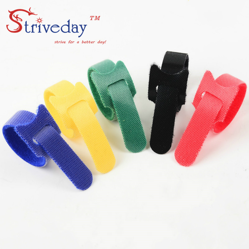 100 pcs 5 Colors can choose Magic tape wiring harness/tapes Cable ties/nylon Tie cord Computer cable Earphone Winder tie