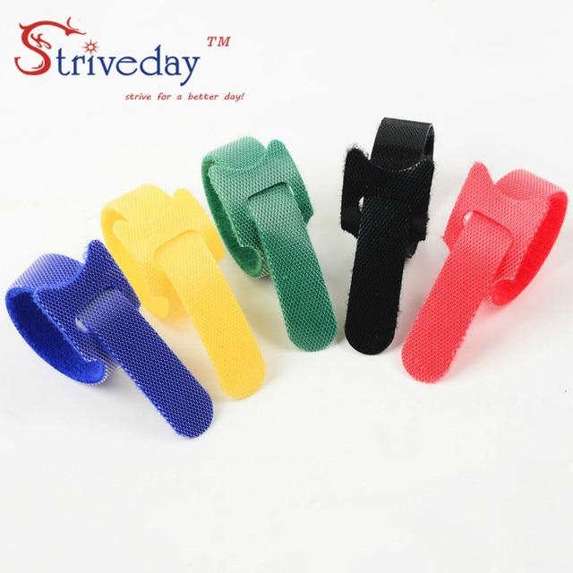 100 pz 5 Colori possono scegliere di Magic tape cablaggio/nastri fascette/nylon del Legame del cavo Del Computer via cavo trasduttore auricolare del Cavo tie