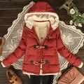 O outono e inverno de 2014 novos Coreano botão da buzina Com Capuz Jaqueta Casaco de cordeiro cashmere térmica fino casaco solto em estoque