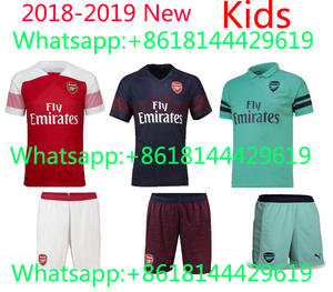 5168e241570 2019 Top quality Arsenales jersey sleeves kids Suit Soccer Home red Away  3RD men shirt free shipping 2018