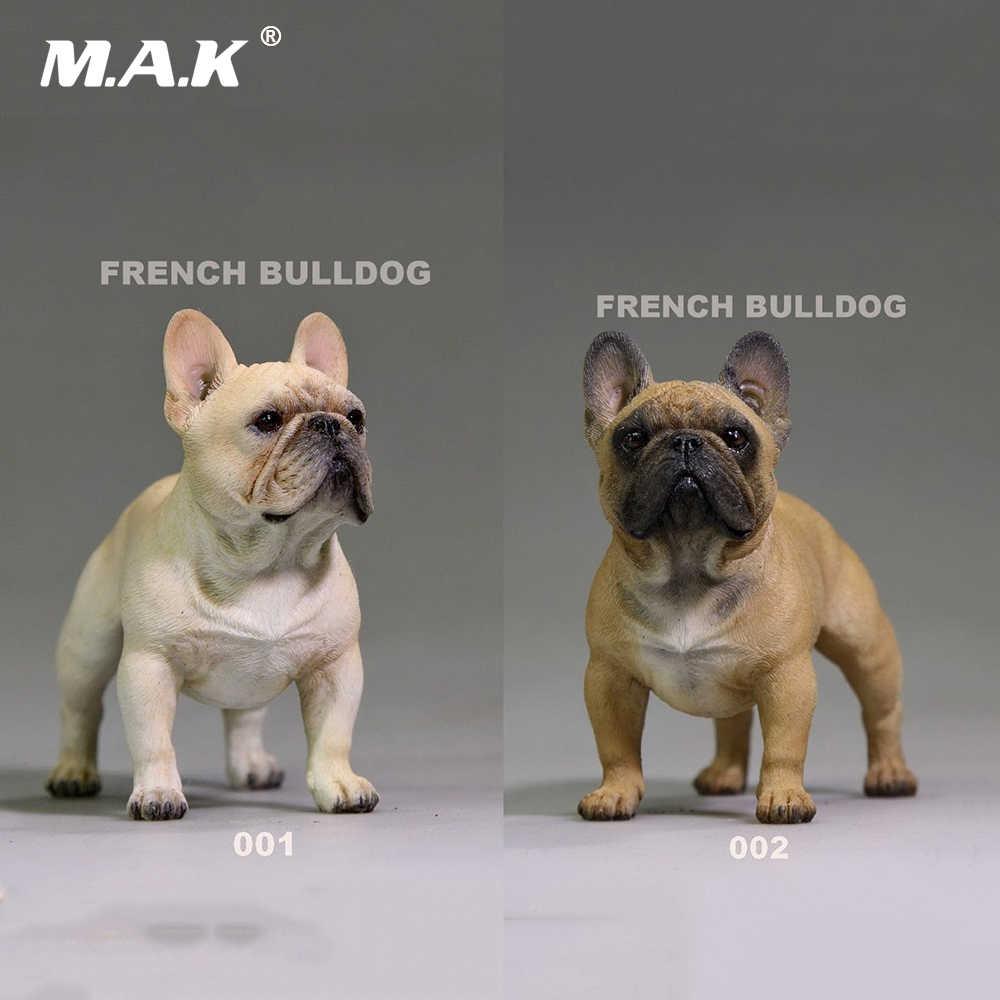 """1/6 escala creme/marrom cor francês bulldog simulação cão filhote de cachorro animal estimação brinquedo resina para 12 """"figura ação cena brinquedo"""