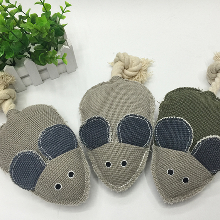 12*12.5cm Sound Linen Playing Mouse Cat Toys Sounder Mice Teeth Cleaning Cat Pet Chew Toy Color Randomly
