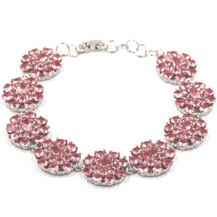 Beautiful Pink Morganite SheCrown Ladies Present Silver Bracelet 7 0 7 5in 18x17mm