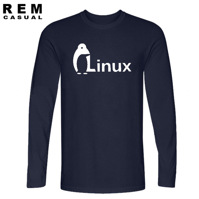 The Dark Knight LINUX penguin Logo Long sleeve T Shirt Men new Fashion   wordart of LINUX T-shirt