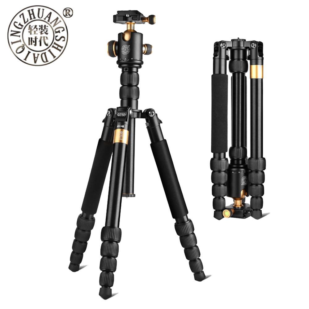 QZSD Q668 Professional Magnesium&Aluminum Alloy Portable Traveling Tripod Monopod with Ball Head for SLR Camera Max Load 13Kg qzsd q666 pro portable tripod monopod aluminium alloy q 666 for slr camera traveling load to 15kg free shipping