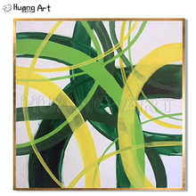 Original Art 100% Hand-Painted Irregular Line Abstract Oil Painting on Canvas for Home Decor Green or Pink