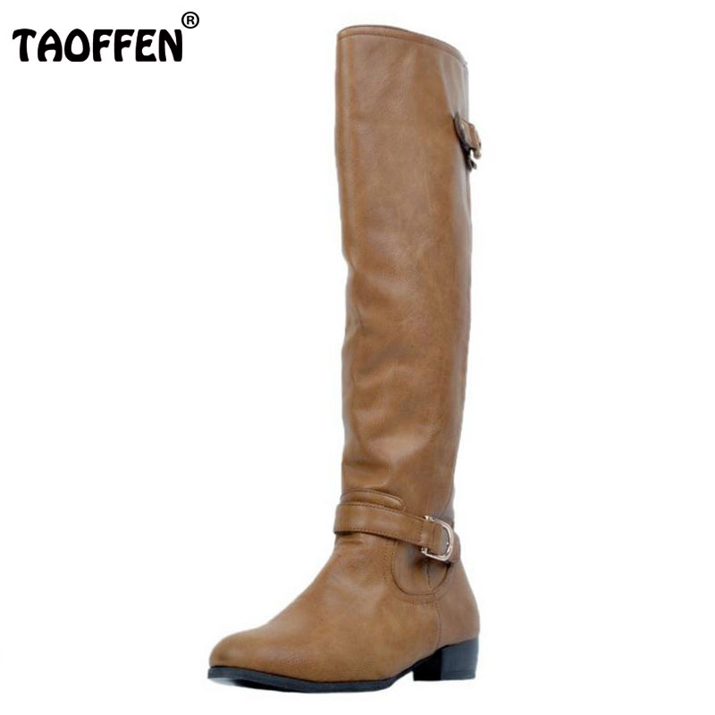 TAOFFEN Women Round Toe Knee Boots Woman Brand Quality Square Heel Knight Boot Fashion Ladies Zipper Bootined Mujer Size 34-47 enmayer green vintage knight boots for women new big size round toe flock knee high boots square heel fashion winter motorcycle