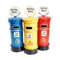 Retro Post Box Ornament British Royal Mailbox Saving Pot Money Box Coin Case