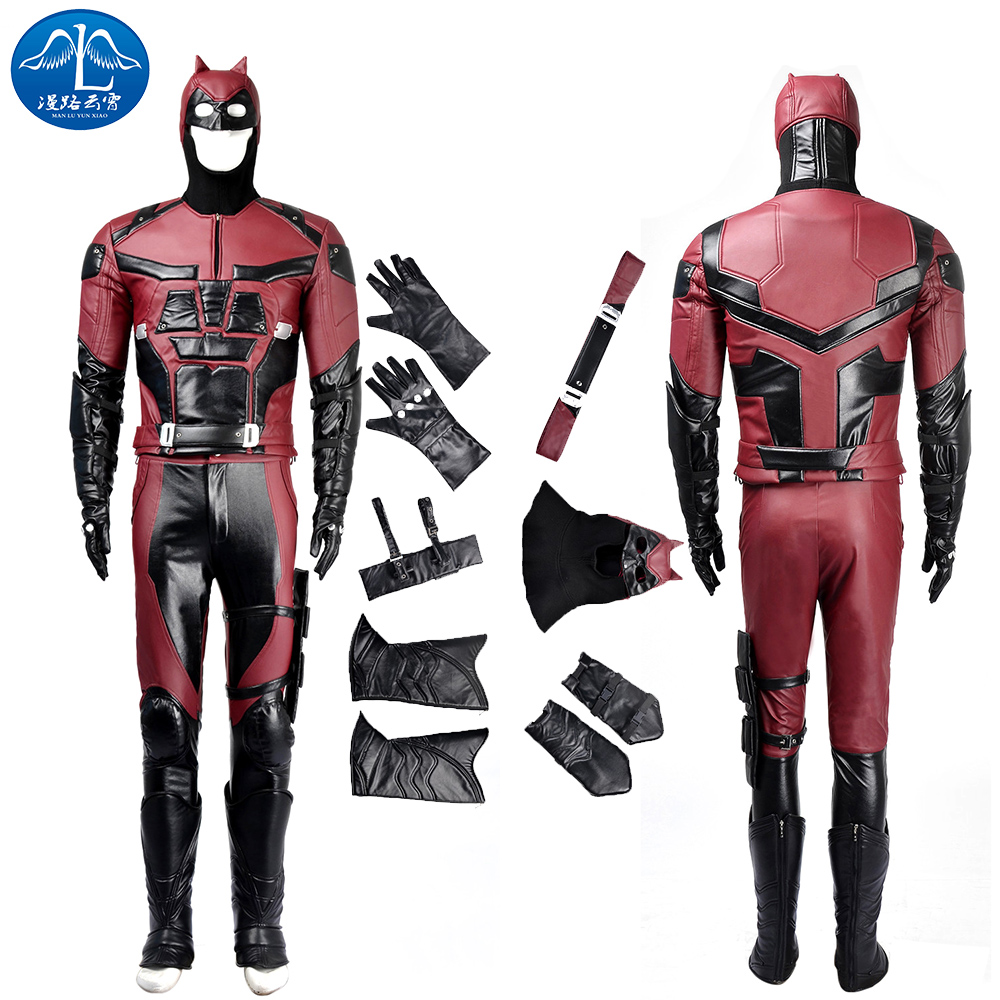 ManLuYunXiao Cosplay Costume Daredevil Costume Leather Men Full Suit Men's Adult Cosplay Halloween Costume For Men Custom Made