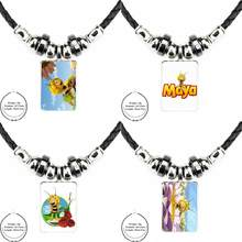 EJ Glaze For Women Jewellery Maya The Bee Ladies Black Leather Bead Pendant Glass Statement Handmade Maxi Necklace(China)