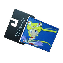 JP Anime Sailor Moon Portmonetka Prezent Dziewczyna Piękny Sailor Moon Cartoon Dolar Cena Posiadacz Karty Portfele Torby Kobiety PCV Krótkie portfel tanie tanio Nie zamek Wnętrza przedziału Uwaga przedziału Zdjęcie holder PU Leather PVC 11 5cm 1-2cm Znaków Standardowe portfele