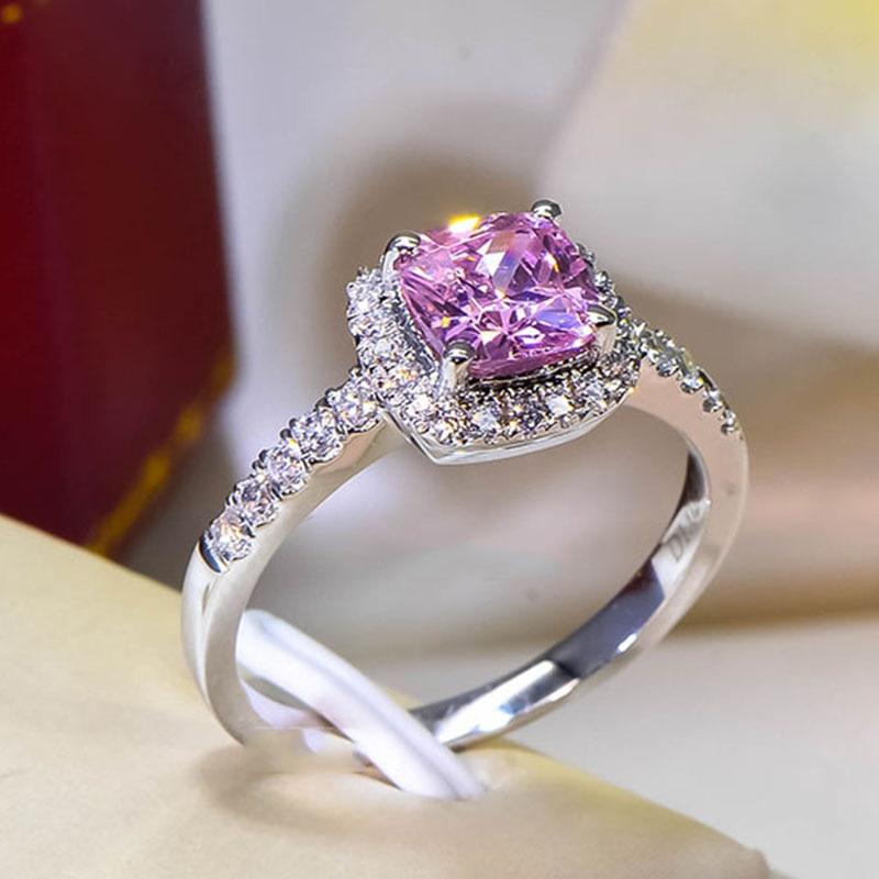 Cushion 2 Carat Imitation Diamonds Engagement Ring Princess Cut Halo