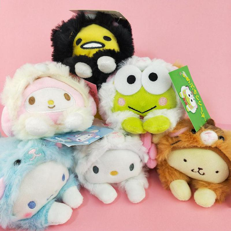 Cute Cartoon Hello Kitty My Melody Big Ears Cinnamoroll Dog Egg Yolk Pudding Dog Frog Plush Toy Turned To Cats Doll Girls Gifts 50cm turned out to be a handsome man pig rabbit plush toy cuddly doll animal pillow to give gifts