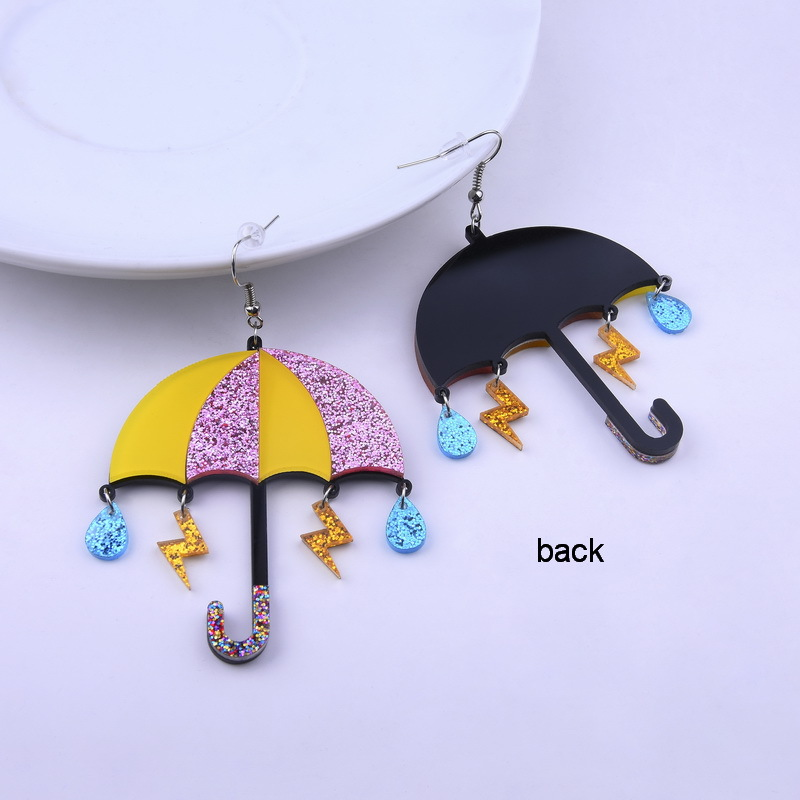 Exaggerated Hollow Out Colorful Umbrella Geometric Acrylic Drop Earrings Fashion Abstract Simple Design Dangle Gift