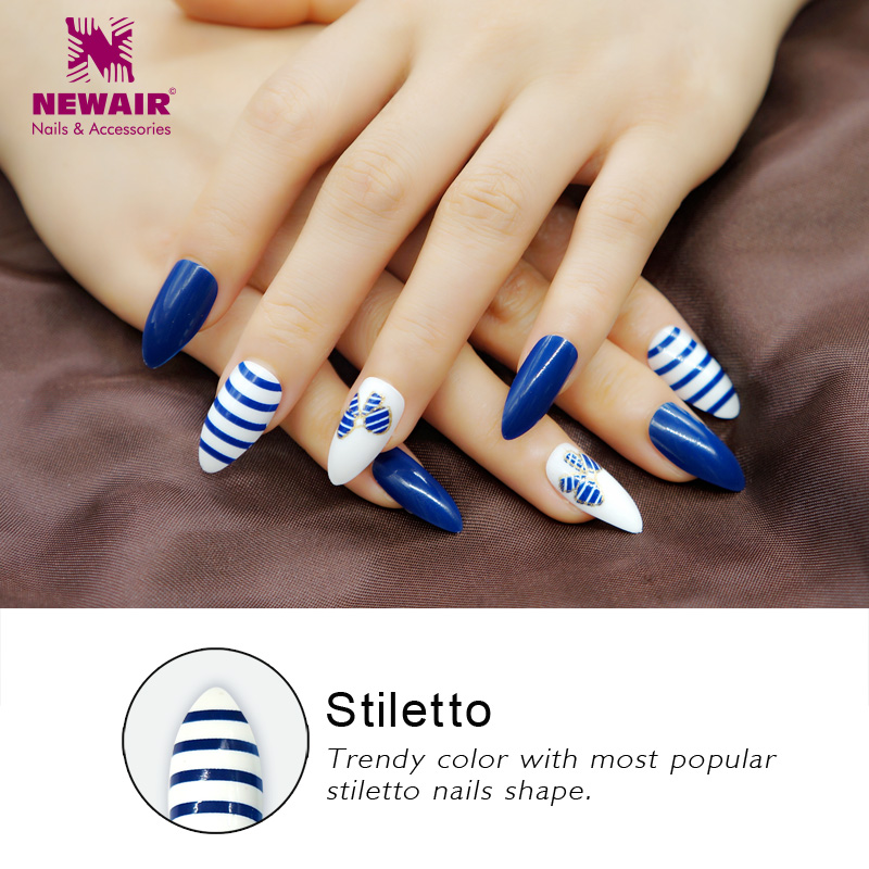 Long Stiletto False Nails With Designs Full Cover Bluebow Fake Nails