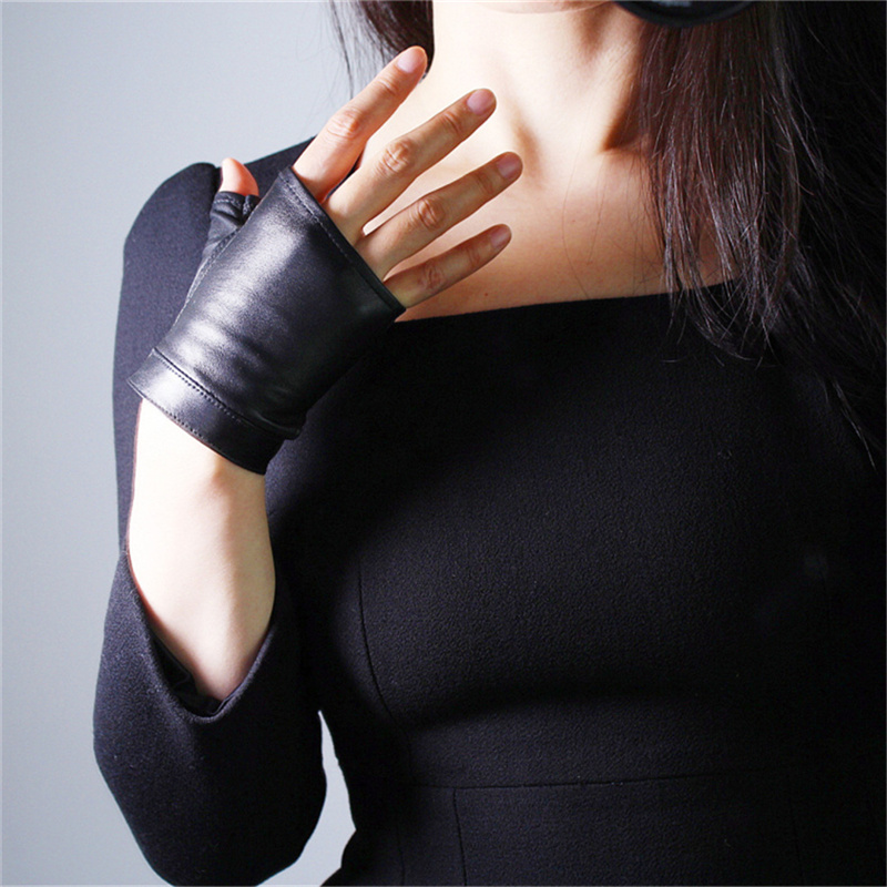 Women Leather Fingerless Gloves Black Sheepskin Half Finger Short Touch Screen White Lizard Animal Pattern TB91-3