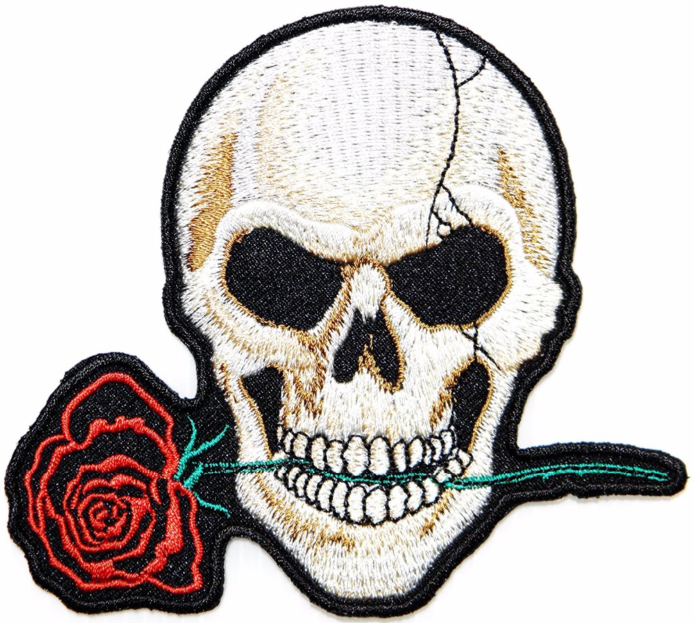 Red Rose Love Never Die Play garçon crâne fantôme squelette motard Lady Rider Hippie Punk Rock Heavy Metal Tatoo Patch Motif Applique
