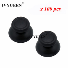 IVYUEEN 100 pcs New Version Controller Analog Thumbsticks Joystick Grips Caps For Dualshock 4 PS4 Pro Slim Console  Black / Gray