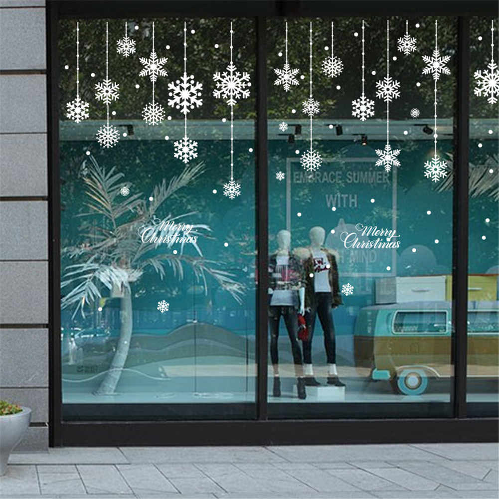 New Christmas Decorative Decal Window Stickers Removable DIY Glass Wall Merry Christmas Snowflake Santa Deer&Sleigh Ride Sticker
