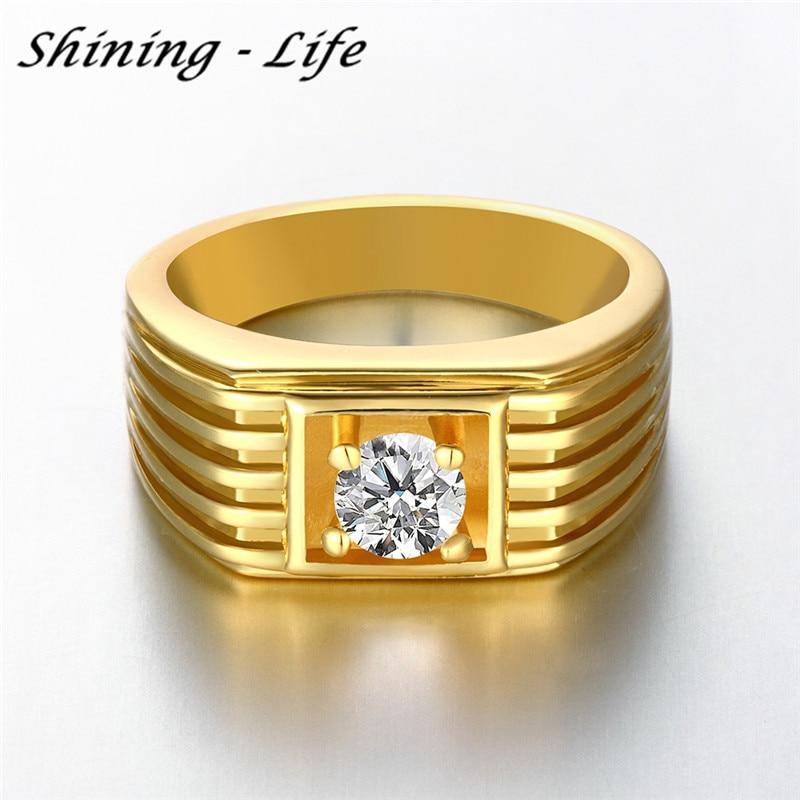 Luxury Brand Genuine Austrian Crystal Men Ring 3 Color Gold Color ...